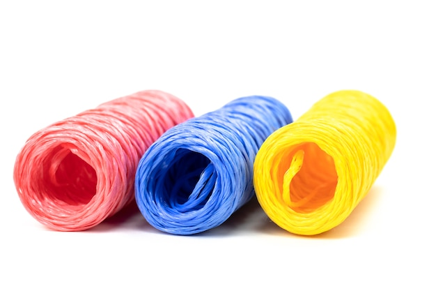 Hanks of colorful twine