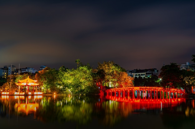 Hanoi/vietnam night city of the huc bridge and ngoc son temple in lake.