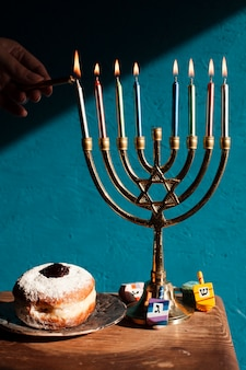 Hanukkah candlelight holder with sweets