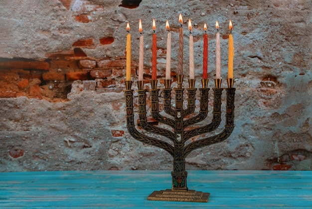 Hanukkah candles a traditional jewish holiday candelabra