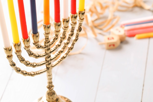 Hanukkah decoration with candles