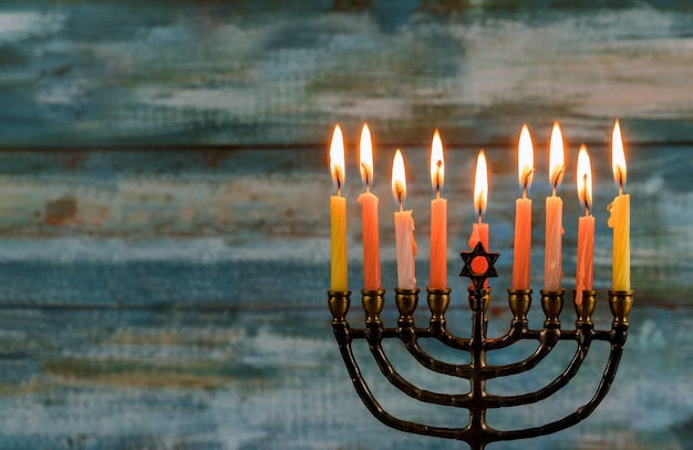 Hanukkah jewish holiday with menorah traditional candelabra
