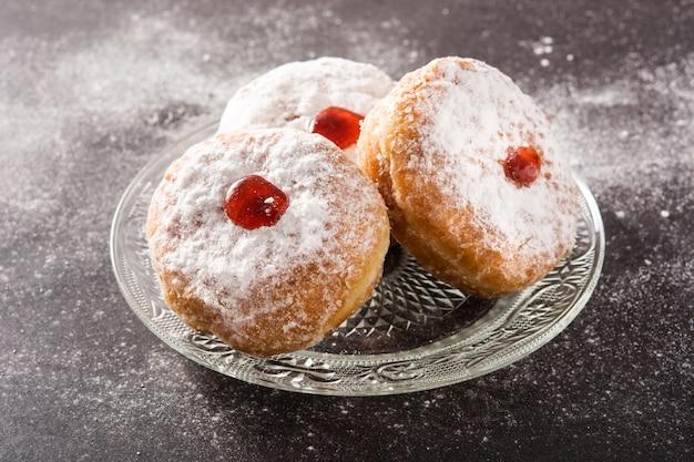Hanukkah sufganiyot. traditional jewish donuts for hanukkah