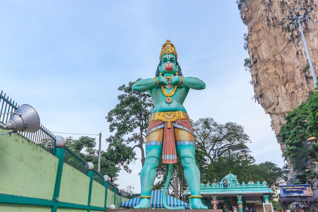 A hanuman statue is a hindu god which is located beside of the batu caves