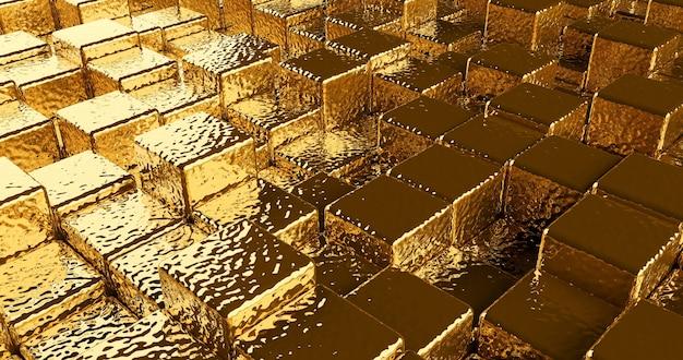Хаотические абстрактные золотые кубики, панорамное изображение