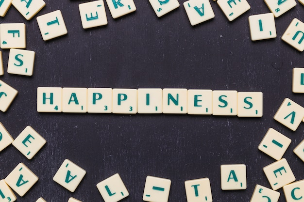 Happiness text made from scrabble game letters