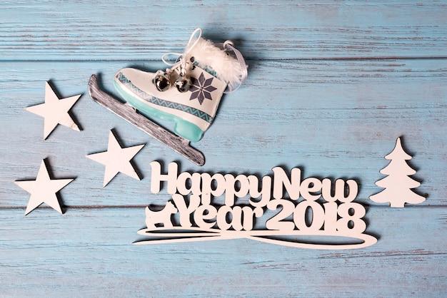 아이스 스케이트와 함께 행복 한 2018 새 해 카드
