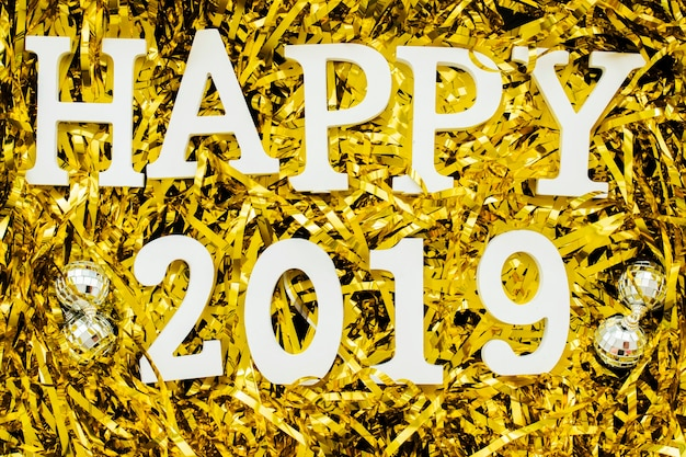 Happy 2019 inscription on spangles