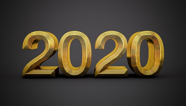 Happy 2020 золотыми буквами на черном