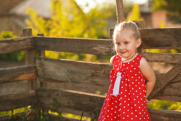 Happy 3 years old girl in red dress is playing in village summer garden