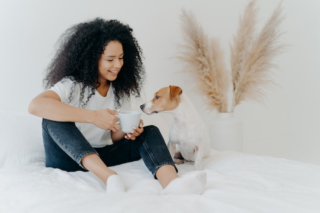 Happy afro american woman spends leisure time with dog, feels comfort, poses on bed with white bedclothes