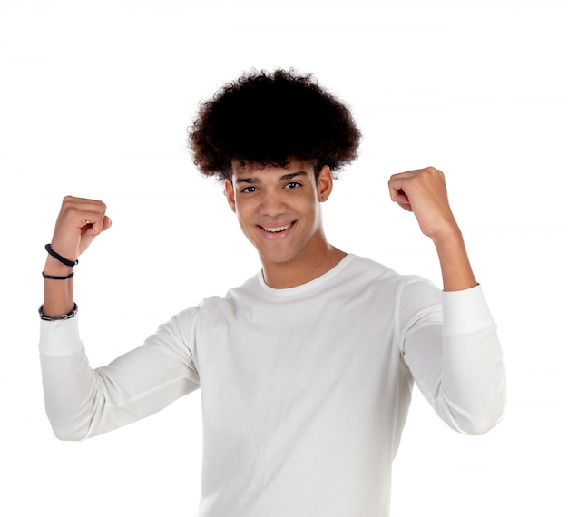 Happy afro guy celebrating something