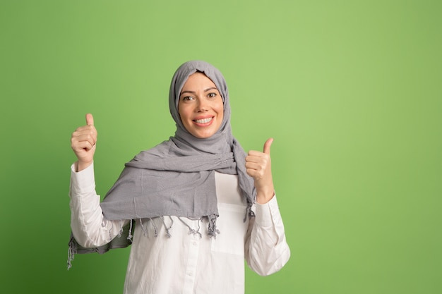 Happy arab woman in hijab