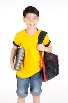 Happy asian boy hand holding laptop