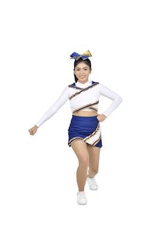 Happy asian cheerleader in action