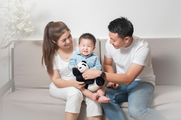 Happy asian family are enjoy with son at home