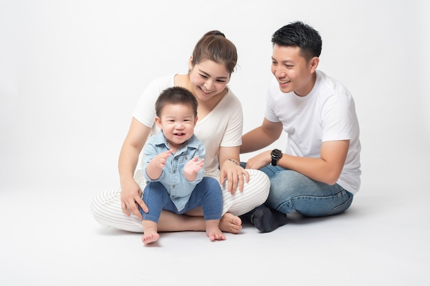 Happy asian family are enjoy with son