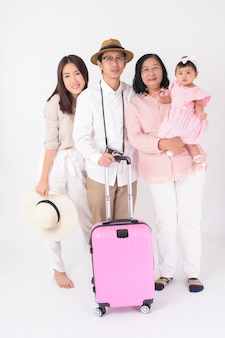 Happy asian family are ready to travel