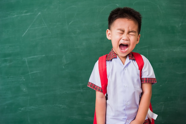 Happy asian funny cute little child boy from kindergarten in student uniform with school bag stand smiling on green school blackboard
