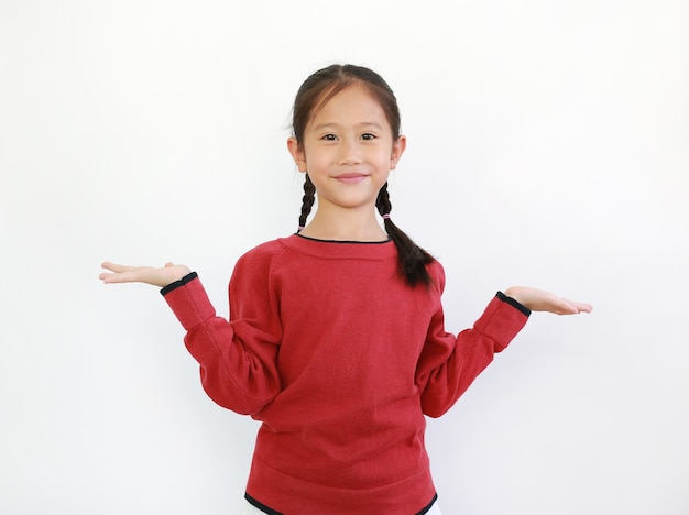 Happy asian little child expression hands to get and support something
