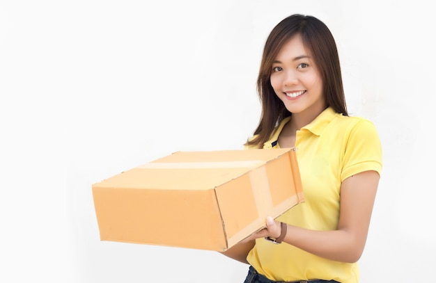 Happy asian sending delivery package paper box on white isolated background