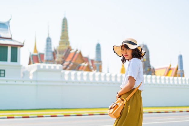 Happy asian woman travel in thailand