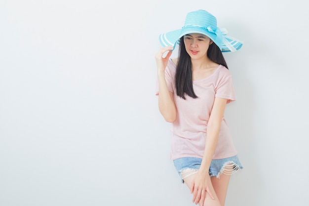 Happy asian woman wearing summer fashion