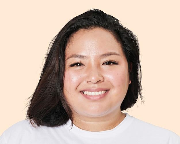 행복 한 아시아 젊은 여자, 얼굴 초상화