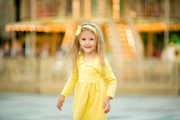 Happy baby walking in the park