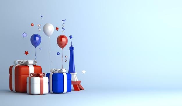 Счастливый день взятия бастилии декоративный фон с подарочной коробкой воздушного шара эйфелевой башни