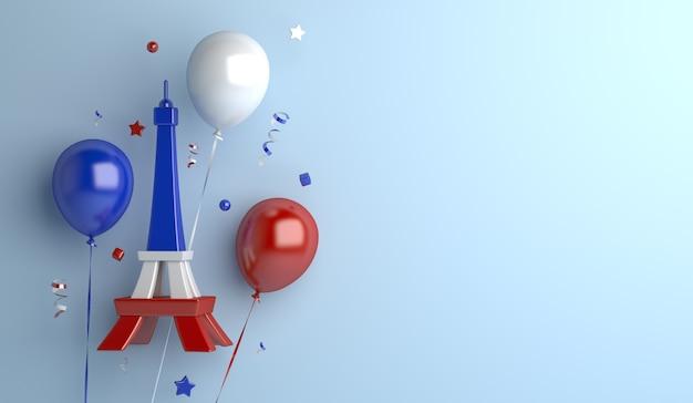 エッフェル塔の風船と幸せなパリ祭の装飾の背景