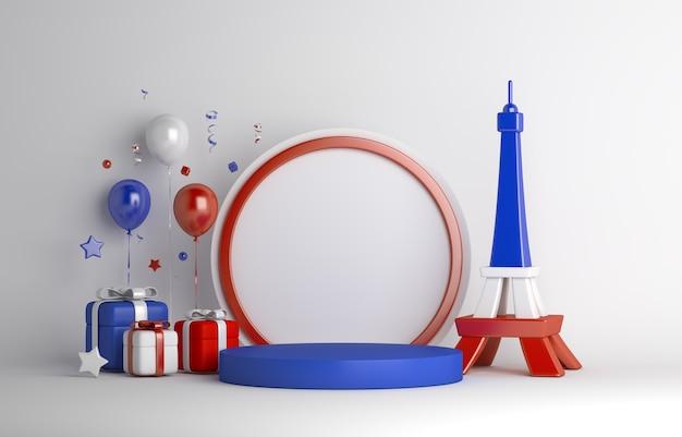 ハッピーバスティーユデーは、エッフェル塔のバルーンギフトボックスで表彰台の装飾の背景を表示します
