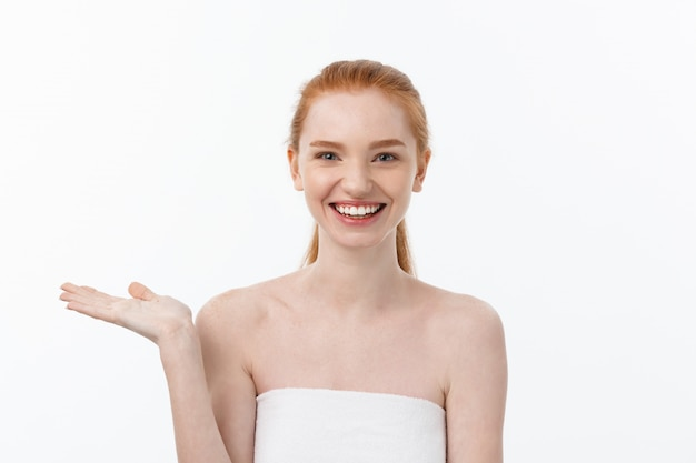 Happy beautiful girl is happy smiling and laughing look stright . expressive facial expressions .cosmetology and spa , skin care model