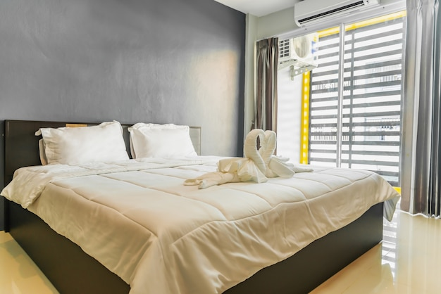 Happy bedroom and comfortable mattress and pillows