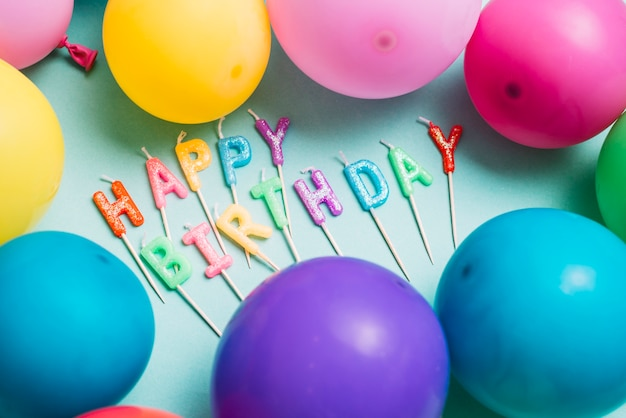 Happy birthday candles stick surrounded with colorful balloons