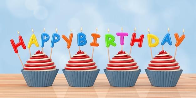 お誕生日おめでとうキャンドル木製テーブルの上のカップケーキ。 3dレンダリング