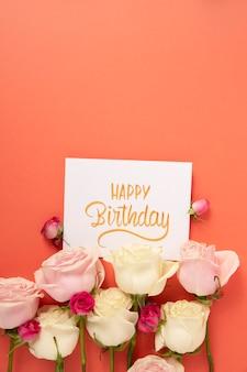Happy birthday card with flowers arrangement