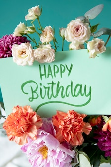 Happy birthday card with flowers assortment