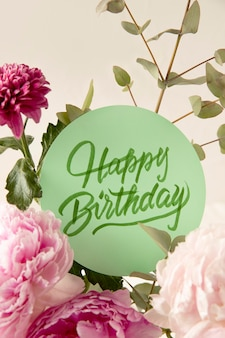 Happy birthday card with flowers composition