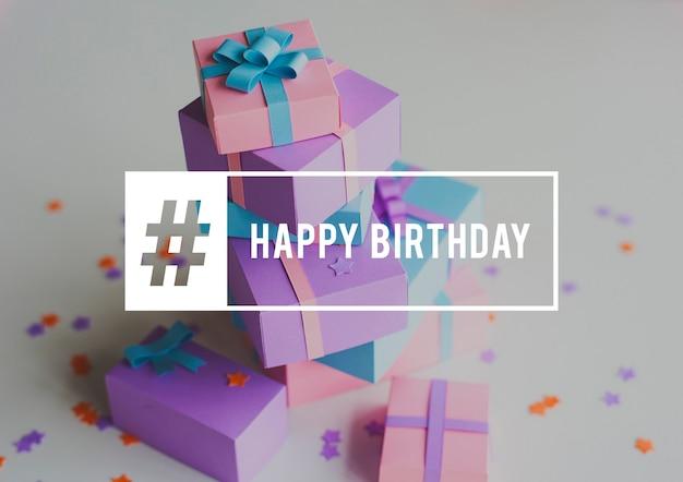 Happy birthday celebration gift surprise word graphic