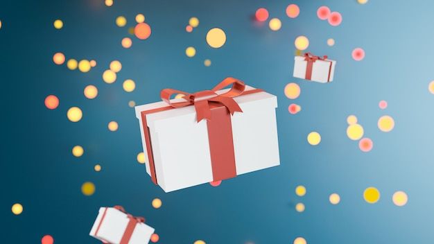 Happy birthday design with gift box  on bokeh blackground. 3d rendering