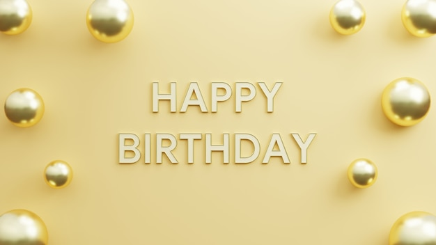 Happy birthday elegant background with realistic balloons gold copy space gold background 3d