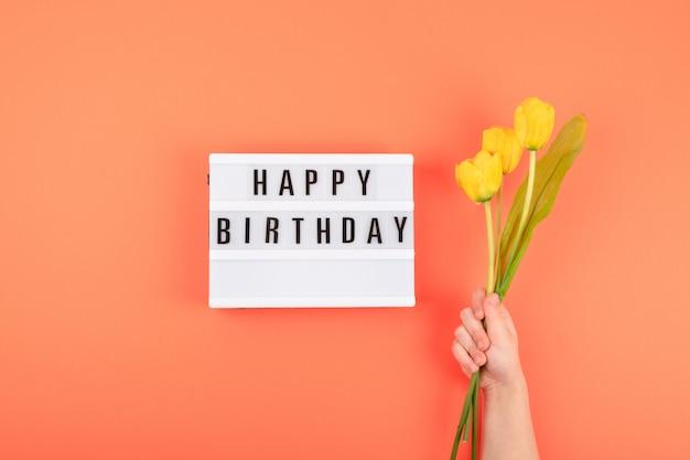 Happy birthday flat lay
