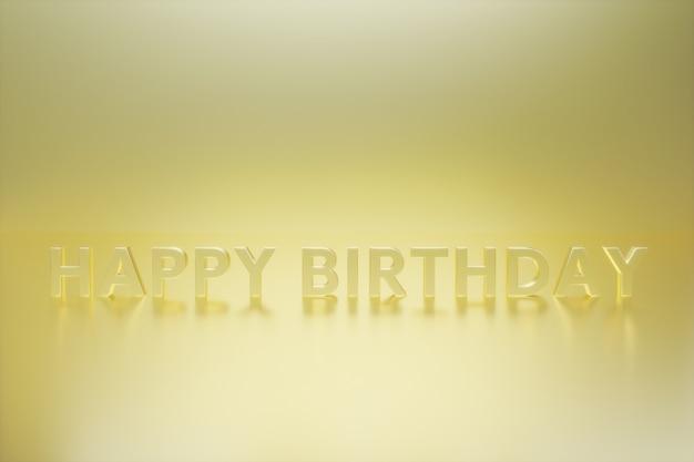 Happy birthday gold effect text  3d illustration rendering  modern  simple  minimalist  gold