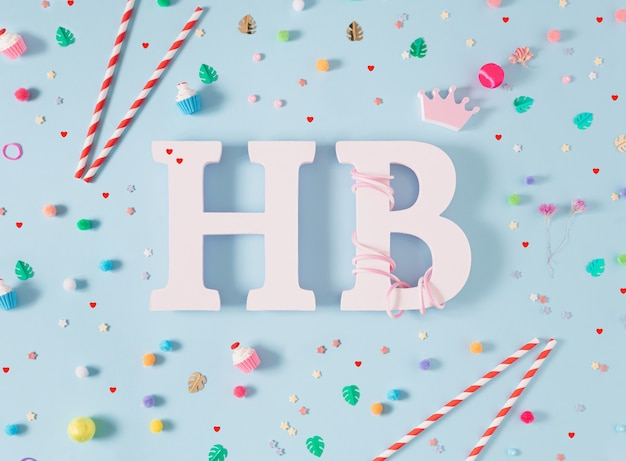 Happy birthday greeting card very vibrant colorful playfu flat lay birthday card party props