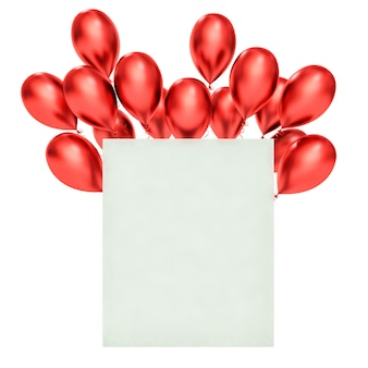 Happy birthday greeting card with 3d red balloons