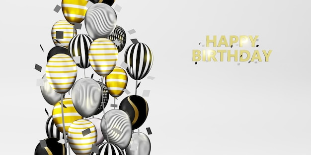 Happy birthday message background image with balloons and ribbons 3d illustration
