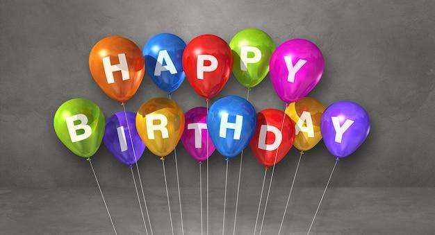 С днем рождения сообщение на разноцветных воздушных шарах. 3d рендеринг