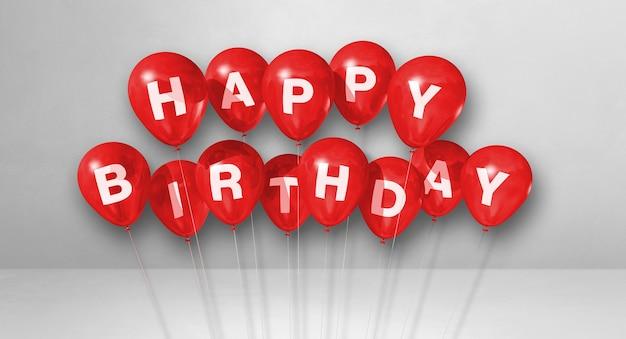 С днем рождения сообщение на красных гелиевых шарах. 3d рендеринг