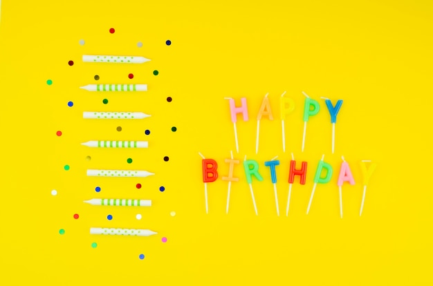 Happy birthday message with colorful candles